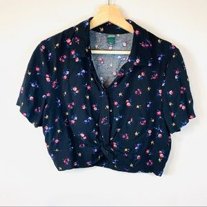 Wild Fable Black Floral Button down Crop Top